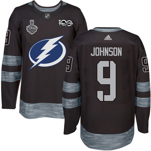 Adidas Lightning #9 Tyler Johnson Black 1917-2017 100th Anniversary 2020 Stanley Cup Final Stitched NHL Jersey
