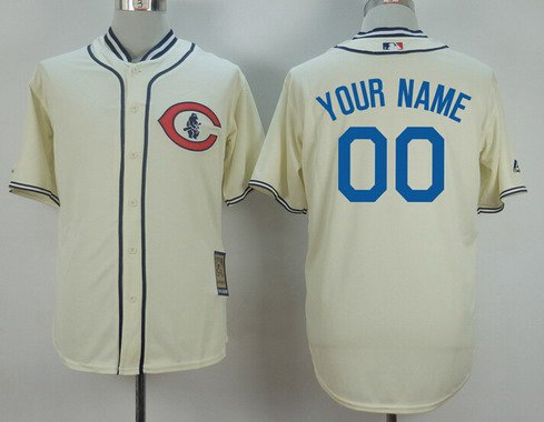 Men's Chicago Cubs Customized 1929 Turn Back The Clock Cream Jersey