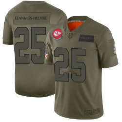 Men's Nike Kansas City Chiefs #25 Clyde Edwards-Helaire Limited Camo 2019 Salute to Service Jersey