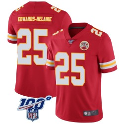 Men's Nike Kansas City Chiefs #25 Clyde Edwards-Helaire Limited Red 100th Vapor Jersey