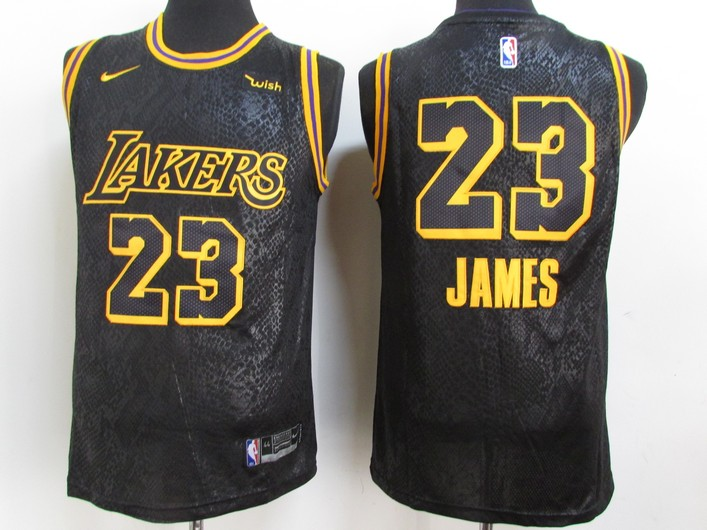 Men's Los Angeles Lakers #23 LeBron James Black NEW 2021 Nike City Edition Wish Patch Stitched Jersey