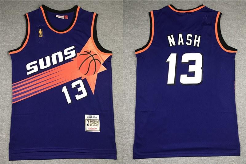 Men's Phoenix Suns #13 Steve Nash Purple Gold NBA Hardwood Classics Soul Swingman Throwback Jersey