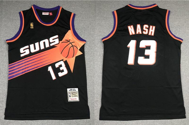 Men's Phoenix Suns #13 Steve Nash Black Gold NBA Hardwood Classics Soul Swingman Throwback Jersey