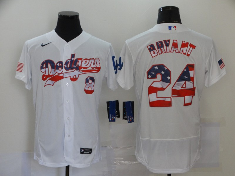 Men's Los Angeles Dodgers #8 #24 Kobe Bryant White USA Flag Stitched MLB Flex Base Nike Jersey