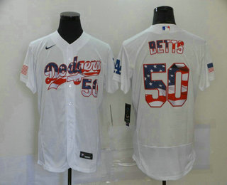 Men's Los Angeles Dodgers #50 Mookie Betts White USA Flag Stitched MLB Flex Base Nike Jersey