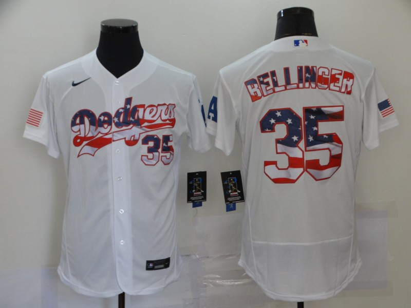 Men's Los Angeles Dodgers #35 Cody Bellinger White USA Flag Stitched MLB Flex Base Nike Jersey