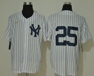 Men's New York Yankees #25 Gleyber Torres No Name White Throwback Stitched MLB Cool Base Nike Jersey
