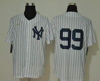Men's New York Yankees #99 Aaron Judge No Name White Throwback Stitched MLB Cool Base Nike Jersey