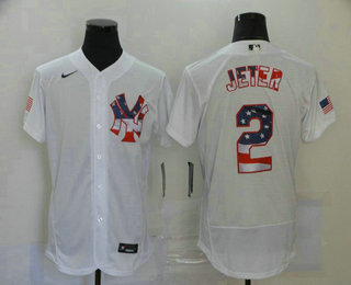Men's New York Yankees #2 Derek Jeter White USA Flag Stitched MLB Flex Base Nike Jersey