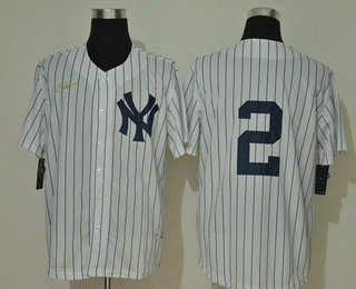 Men's New York Yankees #2 Derek Jeter No Name White Throwback Stitched MLB Cool Base Nike Jersey