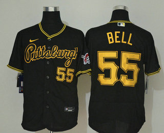 Men's Pittsburgh Pirates #55 Josh Bell Black Stitched MLB Flex Base Nike Jersey