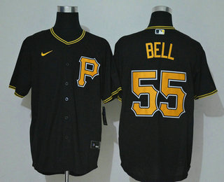 Men's Pittsburgh Pirates #55 Josh Bell Black Stitched MLB Cool Base Nike Jersey
