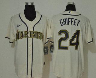 Men's Seattle Mariners #24 Ken Griffey Jr. Cream Navy Blue Name Stitched MLB Cool Base Nike Jersey