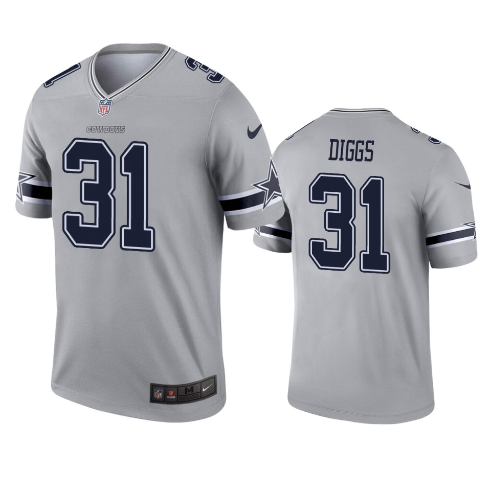 Men's Dallas Cowboys #31 Trevon Diggs Gray Inverted Legend Jersey