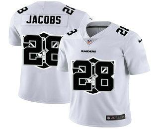 Men's Las Vegas Raiders #28 Josh Jacobs White 2020 Shadow Logo Vapor Untouchable Stitched NFL Nike Limited Jersey