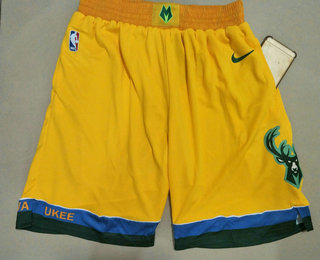 Men's Milwaukee Bucks Yellow City Edition With Pocket Nike Swingman Shorts