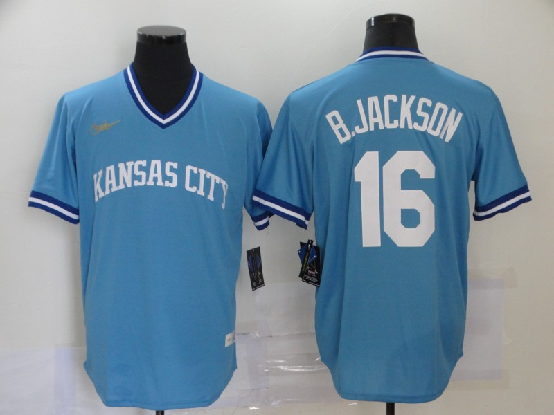 Men's Kansas City Royals #16 Bo Jackson Light Blue Pullover Cool Base Cooperstown Collection Nike Jersey