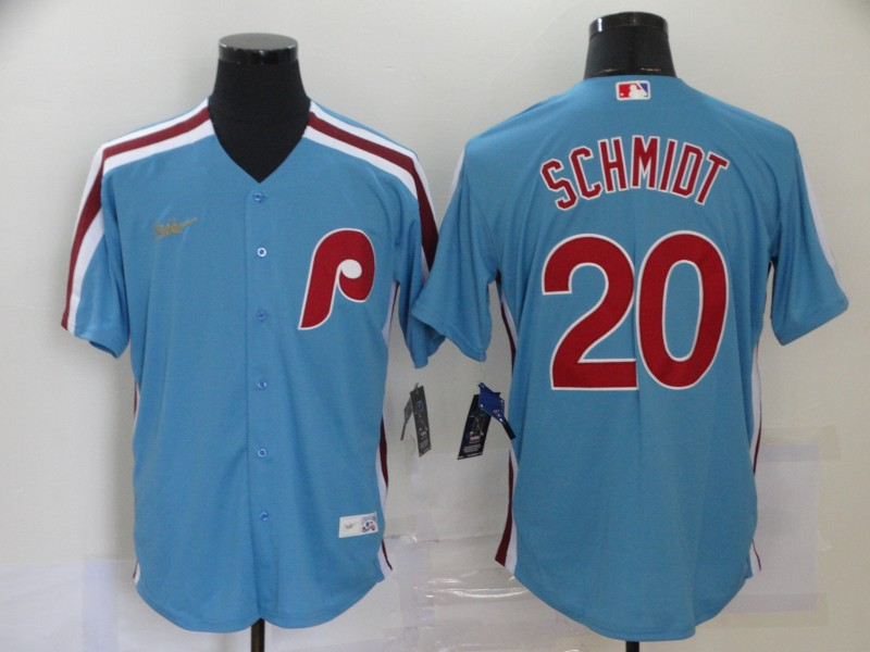 Men's Philadelphia Phillies #20 Mike Schmidt Light Blue Cooperstown Collection Stitched MLB Nike Jersey