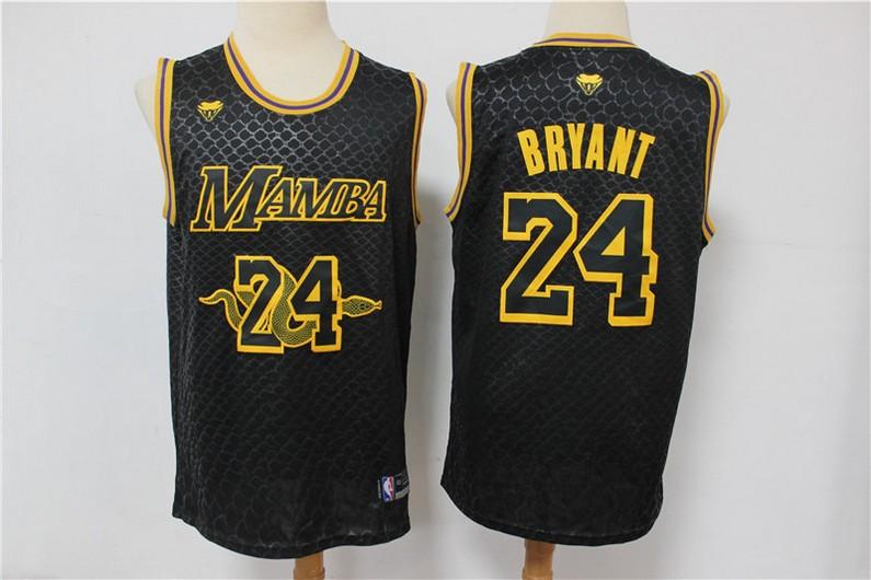 Men's Los Angeles Lakers #24 Kobe Bryant Black Mamba Memorial Black Swingman Nike Jersey