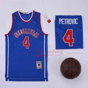 Men's Jugoslavija #4 Drazen Petrovic Blue Basketball Jersey