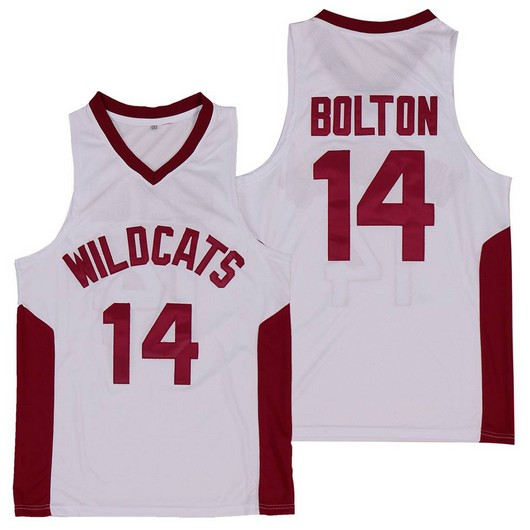 Wildcats #14 Troy Bolton High School White Soul Swingman Basketball Jersey