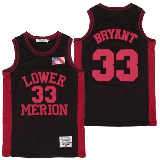 Men's Lower Merion High School #33 Kobe Bryant Black With Red Name High School Swingman Jersey