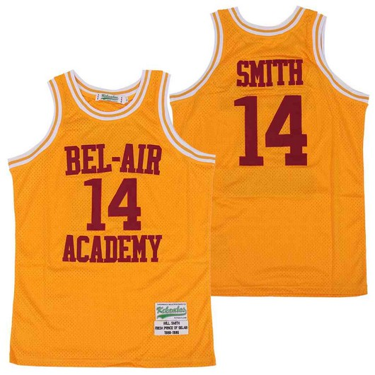 Men's The Movie Bel Air Academy #14 Will Smith Yellow With Red Name Swingman Basketball Jersey