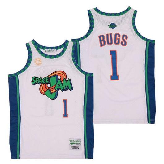 Men's Space Jam #1 Bugs Bunny White Soul Swingman Basketball Jersey
