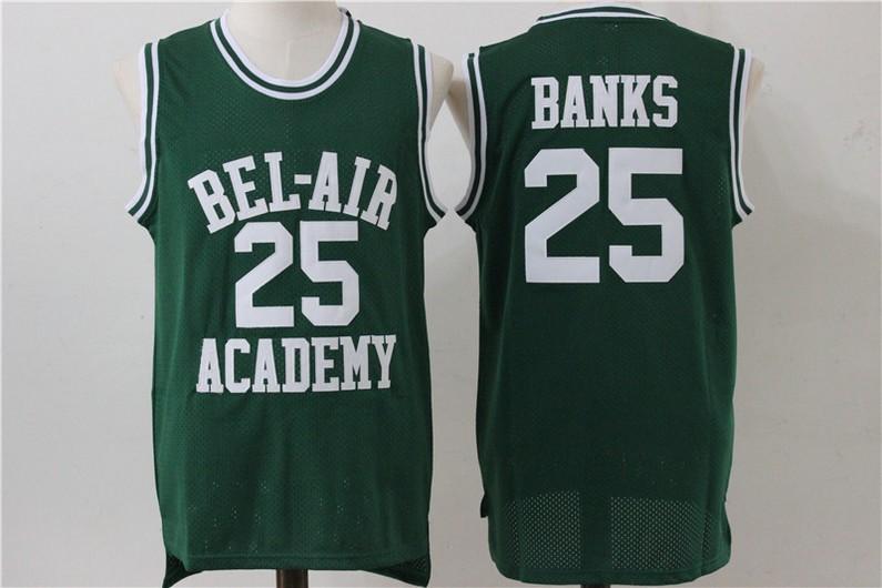 Men's The Movie Bel Air Academy #25 Banks Green Swingman Basketball Jersey