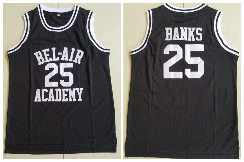 Men's The Movie Bel Air Academy #25 Banks Black Swingman Basketball Jersey