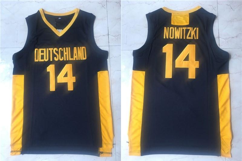 Men's The Movie Deutschland #14 Dirk Nowitzki Navy Blue College Basketball Jersey