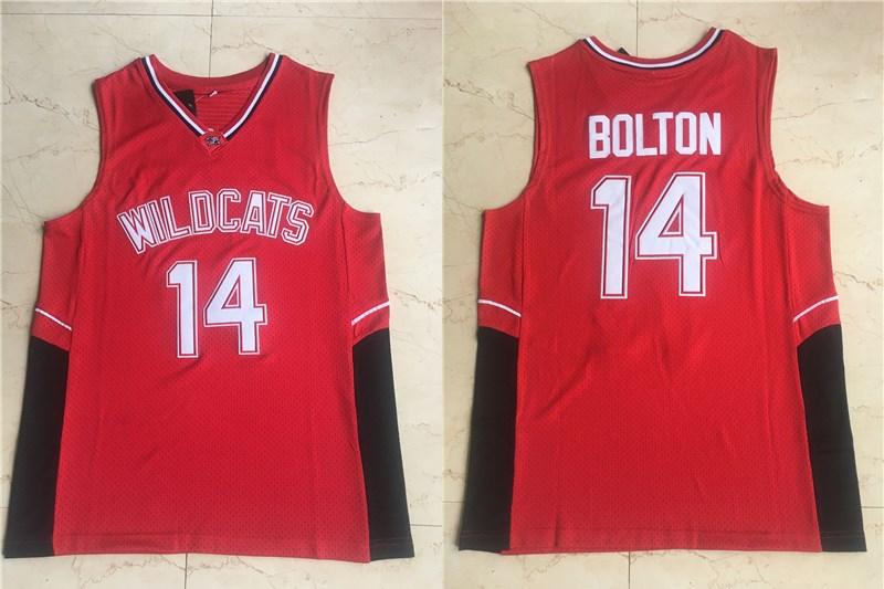 Wildcats #14 Troy Bolton High School Red Soul Swingman Basketball Jersey
