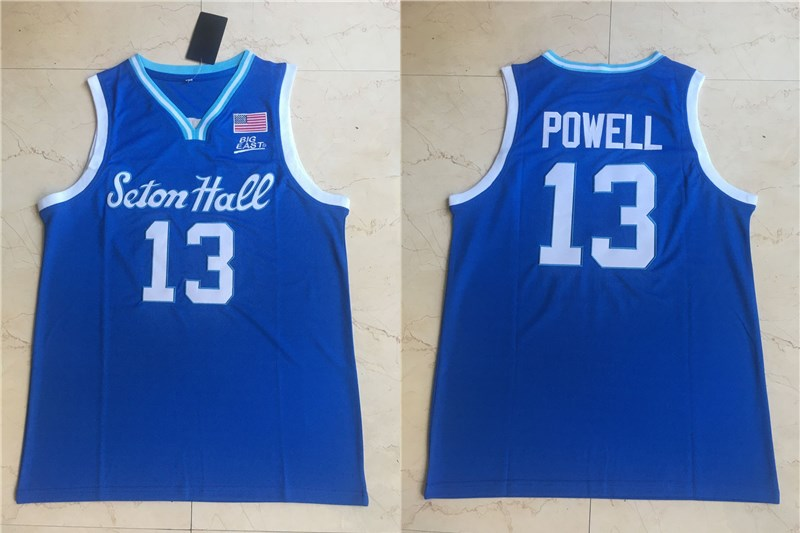 Men's Seton Hall Pirates #13 Myles Powell Blue College Basketball Swingman Stitched Jersey