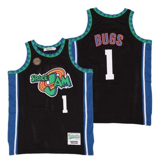 Men's Space Jam #1 Bugs Bunny Black Soul Swingman Basketball Jersey