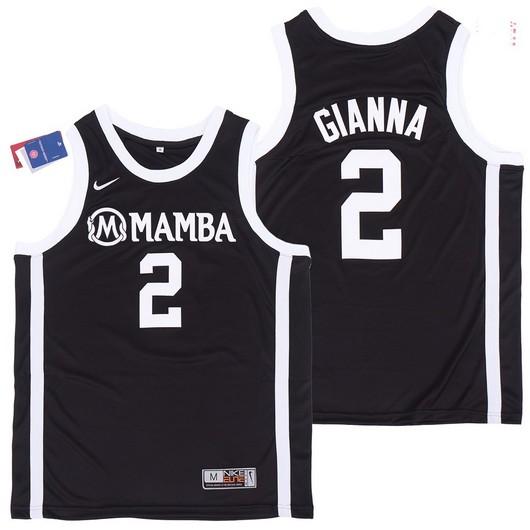 Men's Mamba #2 Gianna Black College Basketball Swingman Stitched Nike Jersey