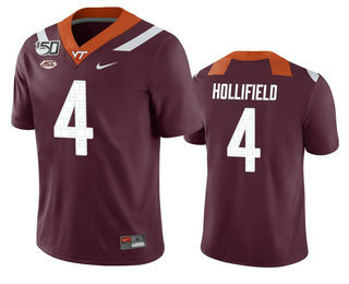 Men's Virginia Tech Hokies #4 Dax Hollifield Maroon 150th College Football Nike Jersey