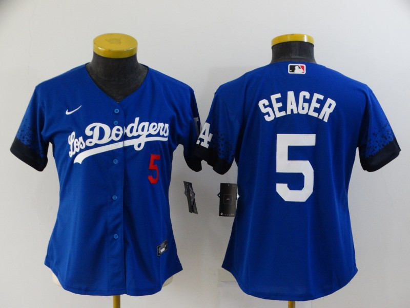 Women's Los Angeles Dodgers #5 Corey Seager Blue 2021 City Connect Number Cool Base Stitched Jersey