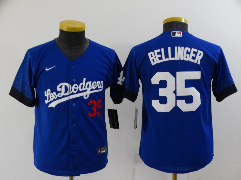 Women's Los Angeles Dodgers #35 Cody Bellinger Blue 2021 City Connect Number Cool Base Stitched Jersey