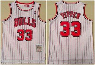 Men's White Chicago Bulls #33 Scottie Pippen Throwback Stitched Jersey