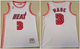 Men's White Miami Heat #3 Dwyane Wade Throwback Stitched Basketball Jersey