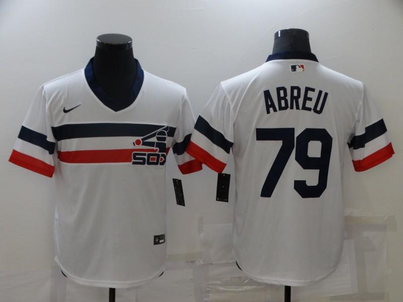 Men's Chicago White Sox #79 Jose Abreu White Throwback Cool Base Nike Jersey