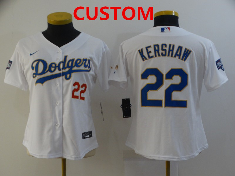 Women's Los Angeles Dodgers Custom White Gold Championship Stitched MLB Cool Base Nike Jersey