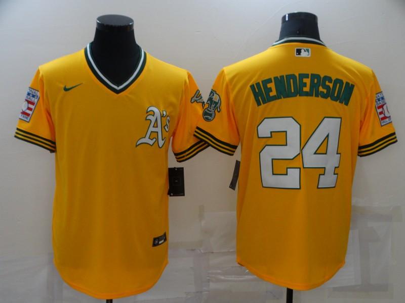 Men's Oakland Athletics #24 Rickey Henderson Yellow Nike Throwback Cool Base Jersey