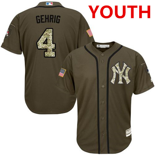 Youth New York Yankees #4 Lou Gehrig Green Salute To Service Stitched MLB Jersey