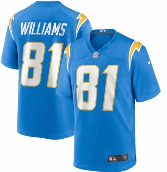 Men's Los Angeles Chargers #81 Mike Williams Light Blue NEW Vapor Untouchable Stitched NFL Nike Limited Jersey