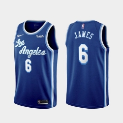 Men's Los Angeles Lakers #6 LeBron James Blue 2021 Nike Swingman Stitched Jersey With Sponsor Logo