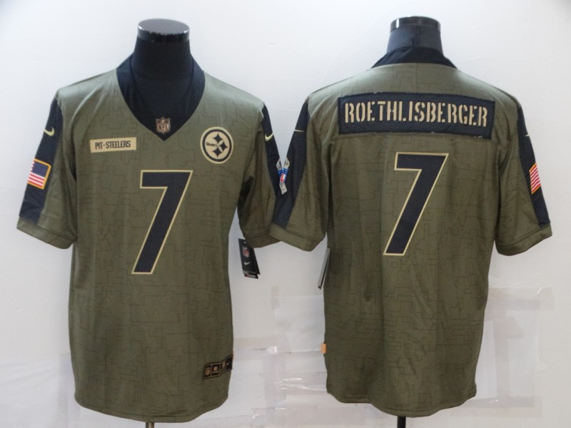 Men's Pittsburgh Steelers #7 Ben Roethlisberger 2021 Olive Salute To Service Limited Stitched Jersey