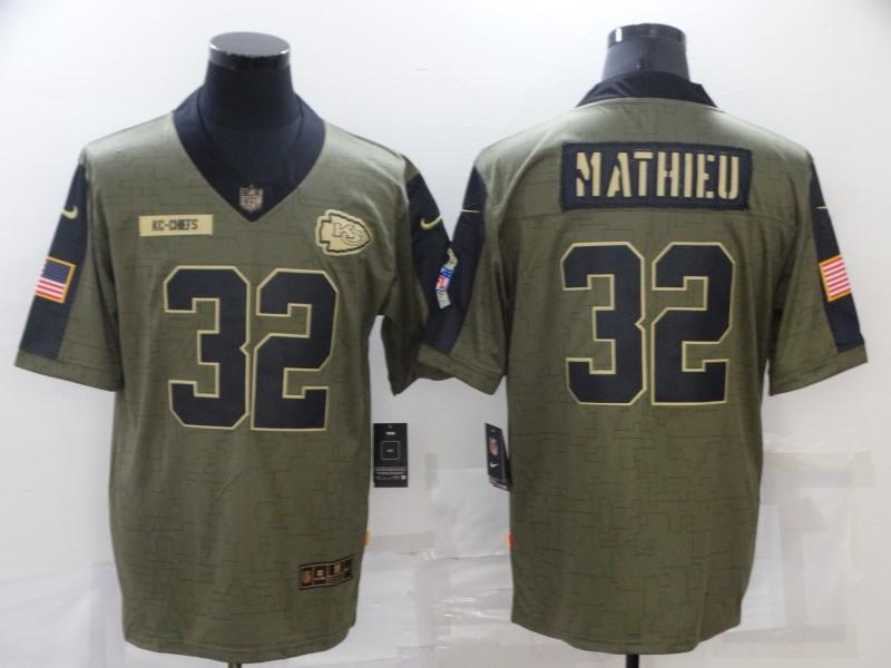 Men's Kansas City Chiefs #32 Tyrann Mathieu 2021 Olive Salute To Service Limited Stitched Jersey