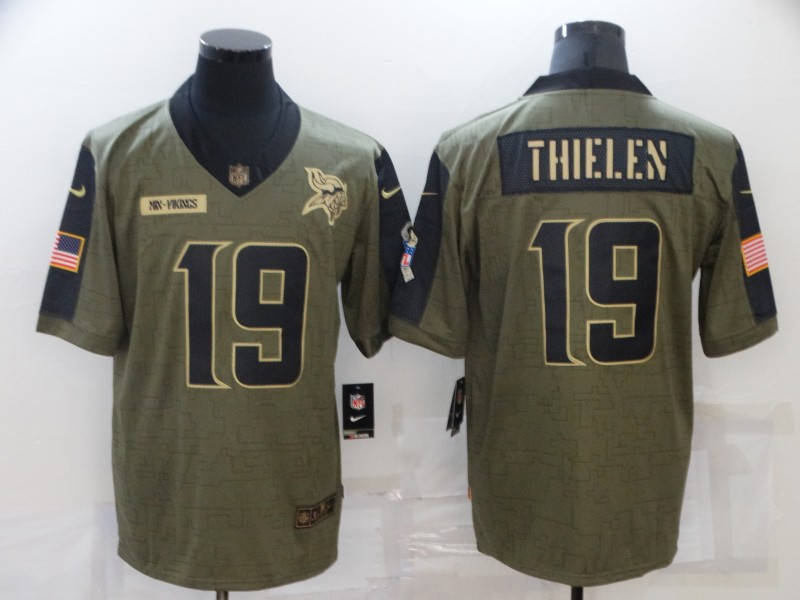 Men's Minnesota Vikings #19 Adam Thielen 2021 Olive Salute To Service Limited Stitched Jersey