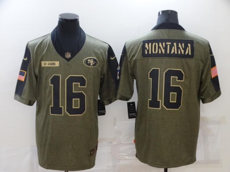 Men's San Francisco 49ers #16 Joe Montana 2021 Olive Salute To Service Limited Stitched Jersey